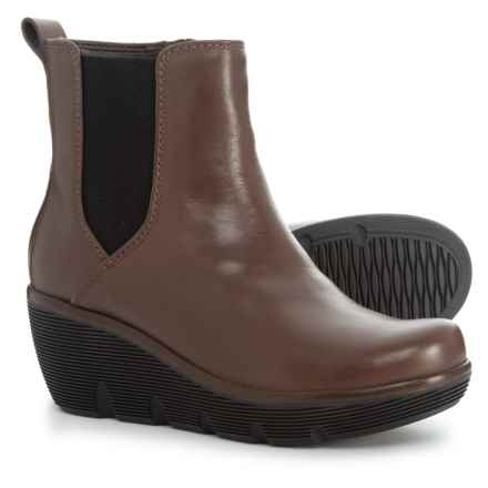 Clarks Clarene Surf Wedge Boots - Leather (For Women) in Taupe Leather - Closeouts