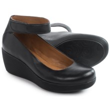 Clarks Claribel Fame Wedge Shoes - Slip-Ons (For Women) in Black Leather - Closeouts