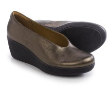 Clarks Claribel Flare Wedge Shoes - Leather, Slip-Ons (For Women) in Bronze Leather - Closeouts