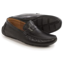 Clarks Davont Saddle Shoes - Leather, Slip-Ons (For Men) in Black Tumbled - Closeouts