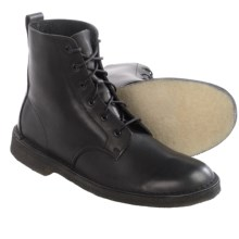 Clarks Desert Mali Leather Boots - Lace-Ups (For Men) in Black Leather - Closeouts