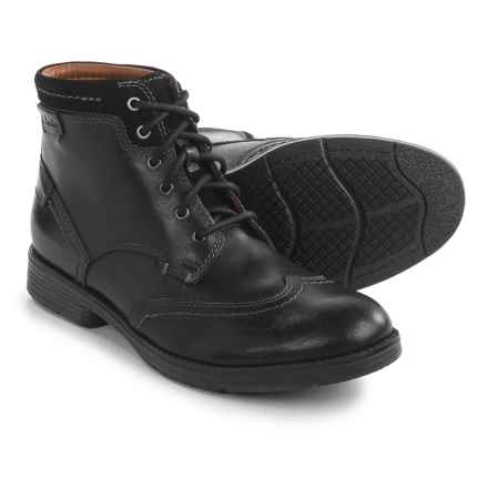 Clarks Devington Hi Boots - Leather (For Men) in Black Smooth - Closeouts