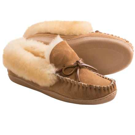 Clarks Double-Faced Shearling Moc Slippers (For Women) in Wicker - Closeouts