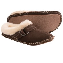 Clarks Double Ring Scuff Slippers - Suede (For Women) in Brown Suede - Closeouts