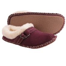 Clarks Double Ring Scuff Slippers - Suede (For Women) in Burgundy Suede - Closeouts