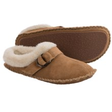 Clarks Double Ring Scuff Slippers - Suede (For Women) in Cinnamon - Closeouts