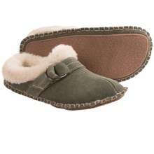 Clarks Double Ring Scuff Slippers - Suede (For Women) in Moss Suede - Closeouts