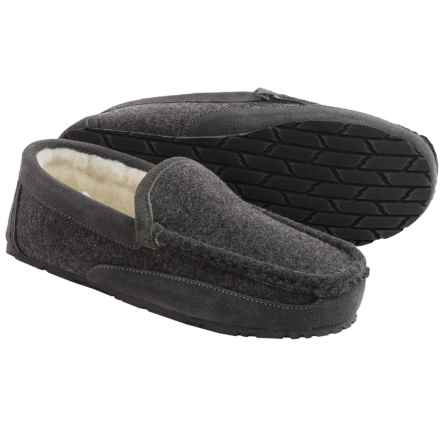 Clarks Driving Moc Slippers - Fleece (For Men) in Dark Grey Flannel - Closeouts