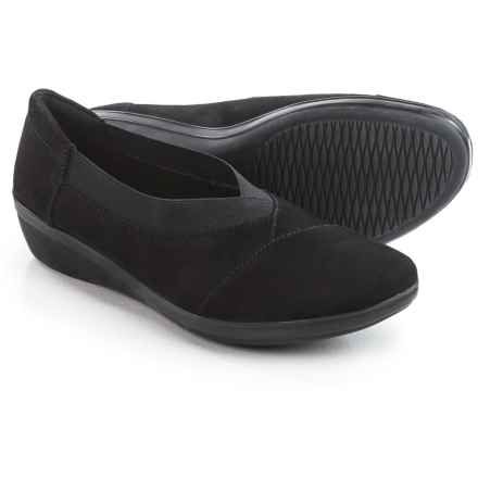 Clarks Everlay Eve Shoes - Nubuck, Slip-Ons (For Women) in Black Nubuck - Closeouts