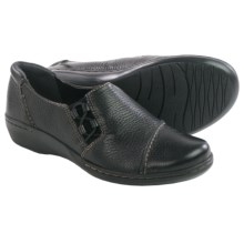 Clarks Evianna Mix Shoes - Slip-Ons (For Women) in Black Tumbled Leather - Closeouts