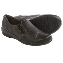 Clarks Evianna Mix Shoes - Slip-Ons (For Women) in Brown Tumbled Leather - Closeouts