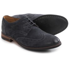 Clarks Exton Brogue Oxford Shoes -Suede, OrthoLite® (For Men) in Blue Suede - Closeouts