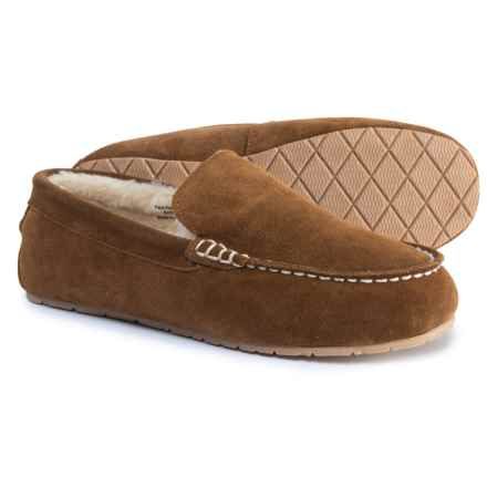 Clarks Faux-Fur Moc Slippers - Suede (For Men) in Brown - Closeouts