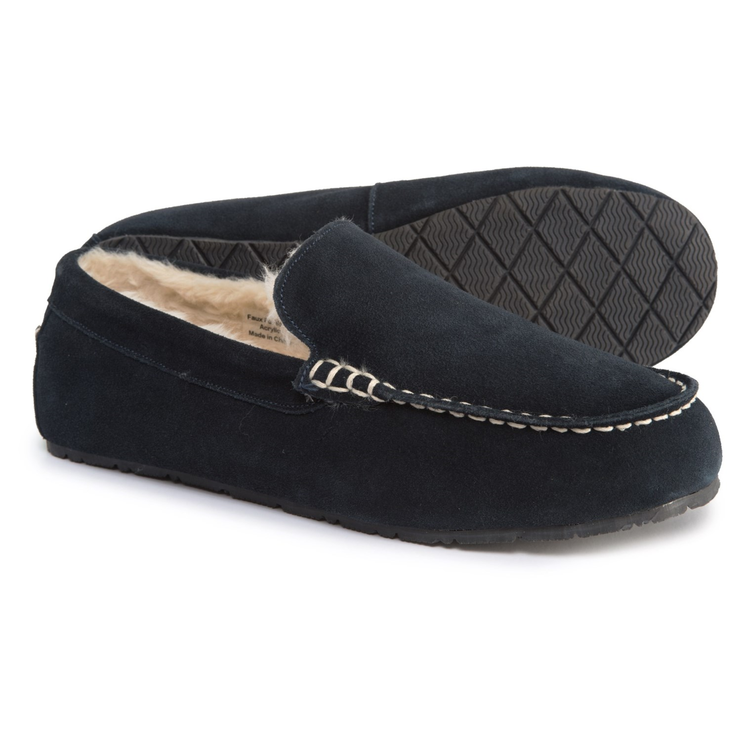 Clarks Faux-Fur Moc Slippers - Suede (For Men) in Navy