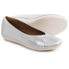 Clarks Feature Fest Leather Shoes - Slip-Ons (For Women) in Silver Leather - Closeouts