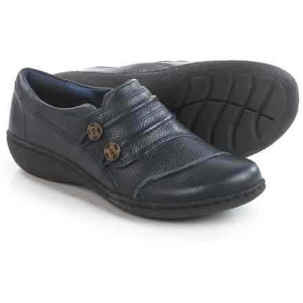 Clarks Fianna Still Shoes - Leather, Slip-Ons (For Women) in Navy Leather - Closeouts