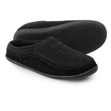 Clarks Fleece and Suede Clog Slippers (For Men) in Black - Closeouts