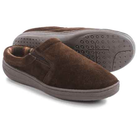 Clarks Fleece-Lined Suede Slippers (For Men) in Brown Suede - Closeouts