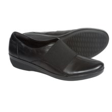 Clarks Foxvale Spell Shoes - Leather, Slip-Ons (For Women) in Black Leather - Closeouts