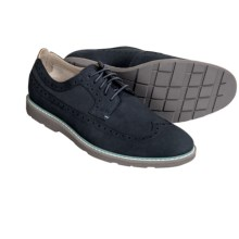 Clarks Gambeson Dress Wingtip Shoes - Nubuck (For Men) in Dark Blue Nubuck - Closeouts