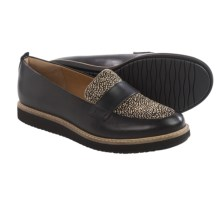Clarks Glick Avalee Shoes - Leather, Slip-Ons (For Women) in Black Interest Leather - Closeouts