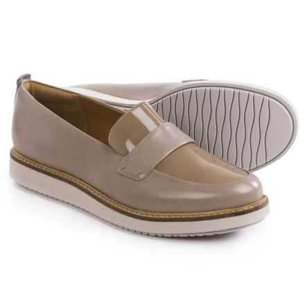 Clarks Glick Avalee Shoes - Leather, Slip-Ons (For Women) in Light Grey Leather - Closeouts
