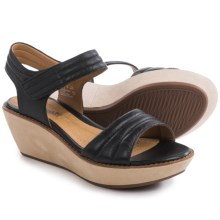 Clarks Hazelle Alba Wedge Sandals - Leather (For Women) in Black Leather - Closeouts