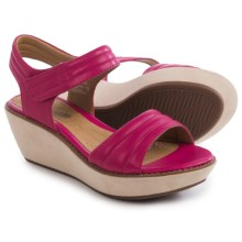 Clarks Hazelle Alba Wedge Sandals - Leather (For Women) in Fuchsia Leather - Closeouts