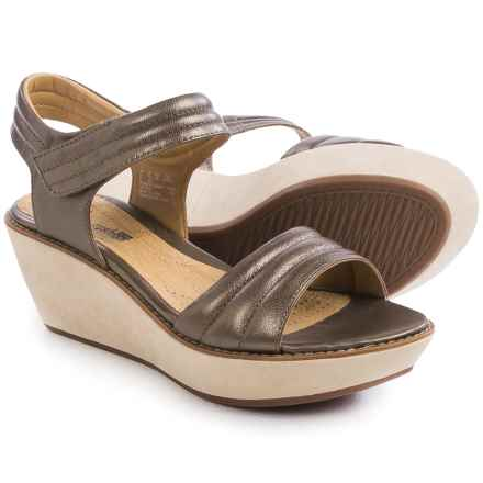 Clarks Hazelle Alba Wedge Sandals - Leather (For Women) in Pewter Leather - Closeouts