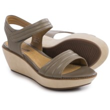 Clarks Hazelle Alba Wedge Sandals - Leather (For Women) in Sage Leather - Closeouts