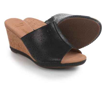 Clarks Helio Corridor Wedge Sandals - Leather (For Women) in Black - Closeouts