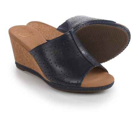 Clarks Helio Corridor Wedge Sandals - Leather (For Women) in Navy - Closeouts