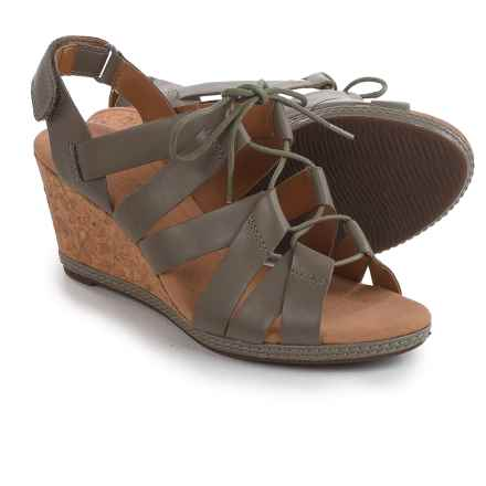 Clarks Helio Mindin Lace-Up Wedge Sandals - Leather (For Women) in Sage - Closeouts