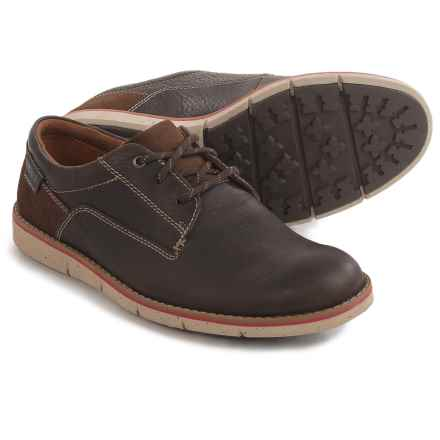 Clarks Kyston Plain Toe Shoes - Leather (For Men) in Dark Brown Lea - Closeouts