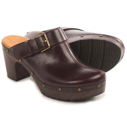 Clarks Ledella York Clogs - Leather (For Women) in Aubergine Leather - Closeouts