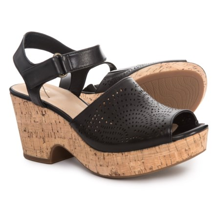 4d2424068373 Clarks Maritsa Nila Wedge Sandals - Leather (For Women) in Black Leather