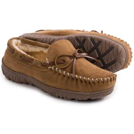 Clarks Moc Shearling Slippers (For Men) in Cinnamon - Closeouts