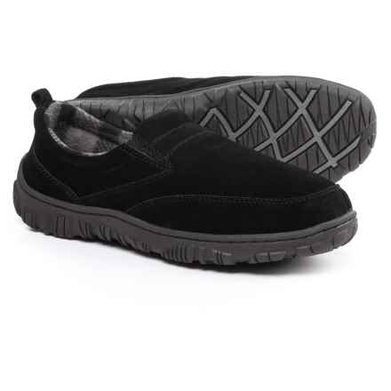 Clarks Moc Slippers with Plaid Fleece Lining - Suede (For Men) in Black - Closeouts