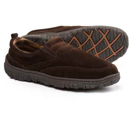 Clarks Moc Slippers with Plaid Fleece Lining - Suede (For Men) in Brown - Closeouts