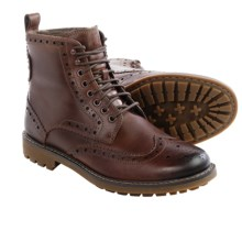 Clarks Montacute Lord Wingtip Boots - Leather, Wool Lined (For Men) in Brown Warm Lined Leather - Closeouts