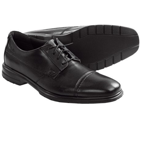 Clarks Ohara Lace-Up Shoes - Cap Toe (For Men) in Black Leather