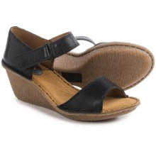 Clarks Orient Sea Wedge Sandals (For Women) in Black Leather - Closeouts