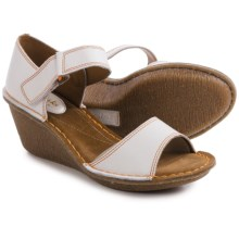 Clarks Orient Sea Wedge Sandals (For Women) in White Leather - Closeouts