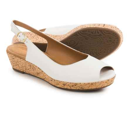 Clarks Orlena Currant Wedge Sandals - Leather (For Women) in White Leather - Closeouts