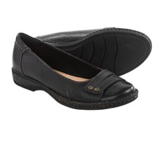 Clarks Pegg Abbie Shoes - Slip-Ons (For Women) in Black Leather - Closeouts
