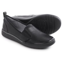 Clarks Penwick Albee Shoes -Slip-Ons (For Women) in Black Leather - Closeouts