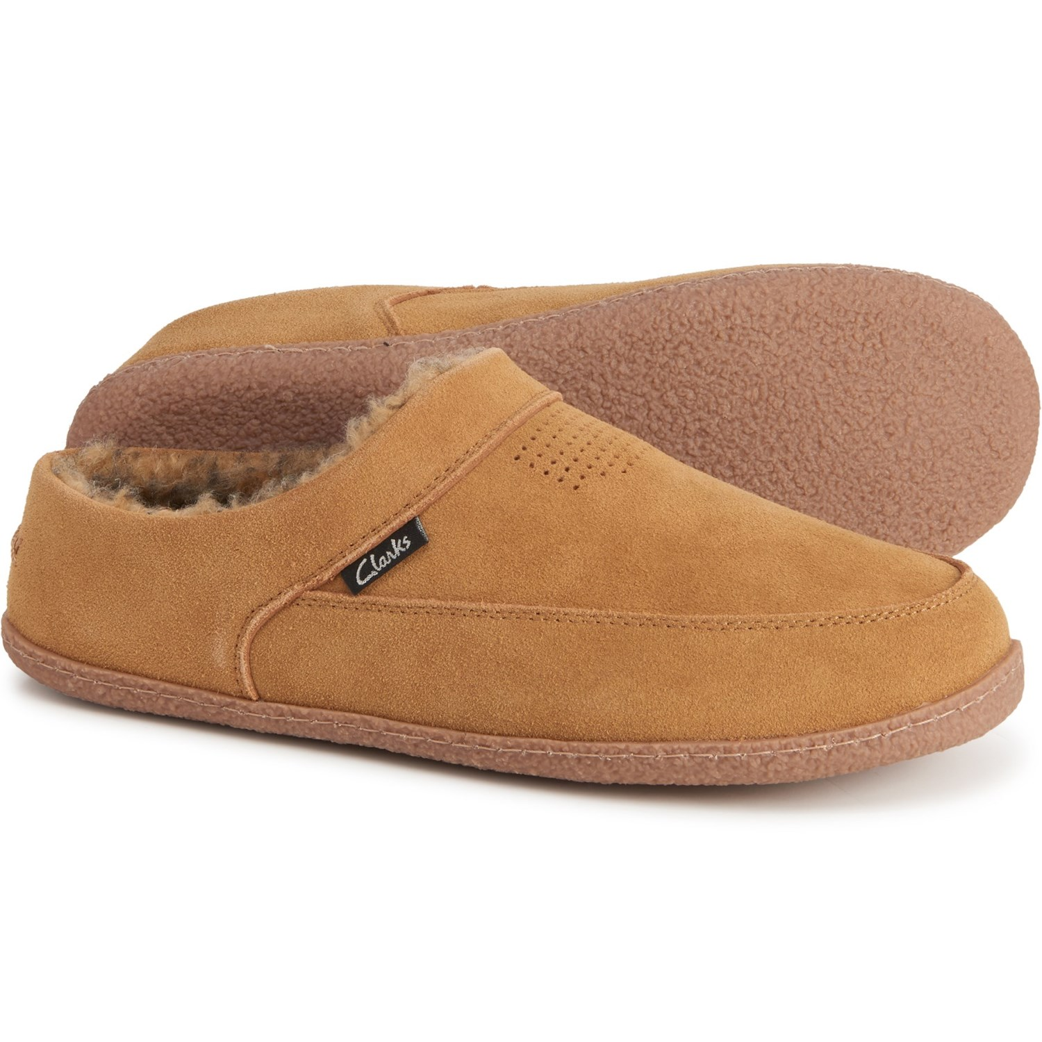 Clarks Perforated Suede Scuff Slippers