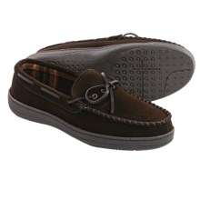 Clarks Plaid Suede Moccasin Slippers - Fleece Lined (For Men) in Brown - Closeouts