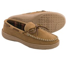 Clarks Plaid Suede Moccasin Slippers - Fleece Lined (For Men) in Cinnamon - Closeouts