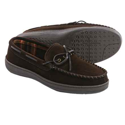 Clarks Plaid Suede Moccasins - Fleece Lined (For Men) in Brown - Closeouts